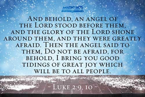And, lo, the angel of the Lord came upon them, and the glory of the Lord shone round about them: and they were sore afraid.  And the angel said unto them, Fear not: for, behold, I bring you good tidings of great joy, which shall be to all people. 