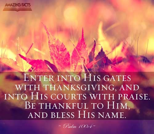 Enter into his gates with thanksgiving, and into his courts with praise: be thankful unto him, and bless his name. 