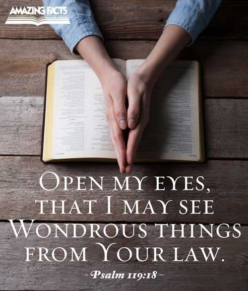 Open thou mine eyes, that I may behold wondrous things out of thy law. 