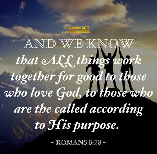 And we know that all things work together for good to them that love God, to them who are the called according to his purpose. 