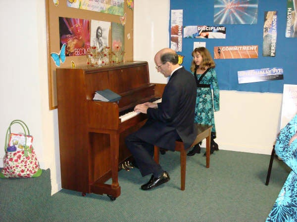 Pastor Doug at the piano