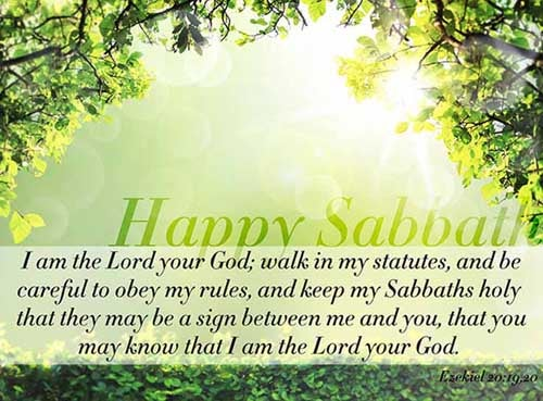 Ezekiel 20:19-20<br />(19)  I am the LORD your God; walk in my statutes, and keep my judgments, and do them;<br />(20)  And hallow my sabbaths; and they shall be a sign between me and you, that ye may know that I am the LORD your God.