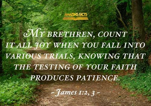 My brethren, count it all joy when ye fall into divers temptations;  Knowing this, that the trying of your faith worketh patience. 