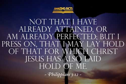 Not as though I had already attained, either were already perfect: but I follow after, if that I may apprehend that for which also I am apprehended of Christ Jesus. 