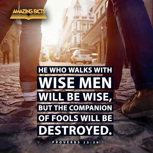 He that walketh with wise men shall be wise: but a companion of fools shall be destroyed. 