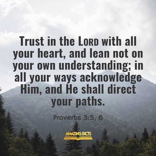 Trust in the LORD with all thine heart; and lean not unto thine own understanding.  In all thy ways acknowledge him, and he shall direct thy paths. 