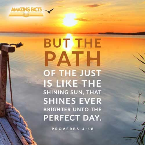 But the path of the just is as the shining light, that shineth more and more unto the perfect day. Proverbs 4:18