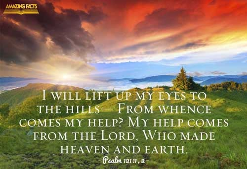 I will lift up mine eyes unto the hills, from whence cometh my help.  My help cometh from the LORD, which made heaven and earth. 