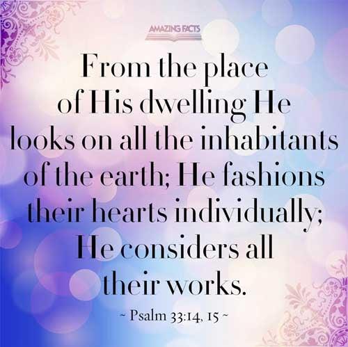 Psalms 33:14-15