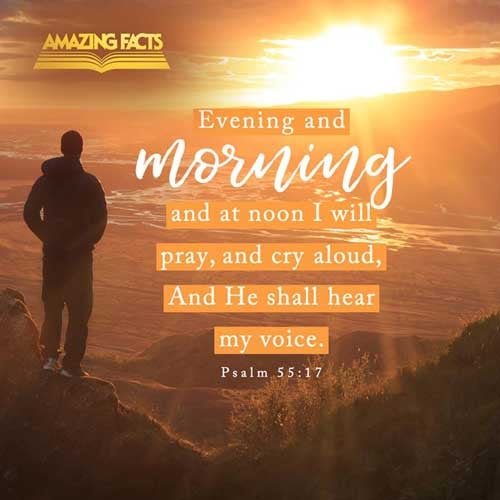 Evening, and morning, and at noon, will I pray, and cry aloud: and he shall hear my voice. Psalms 55:17