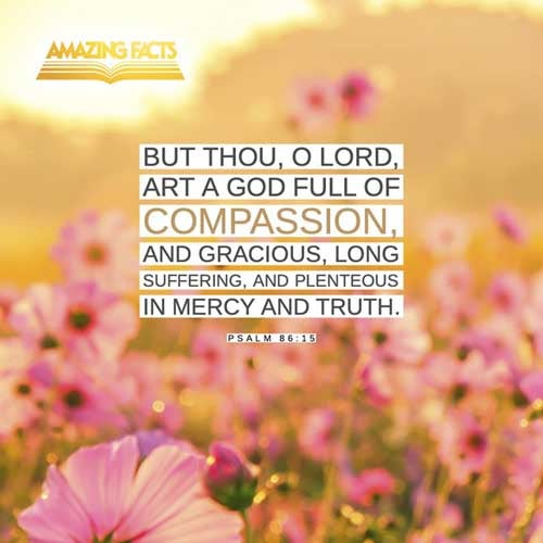 But thou, O Lord, art a God full of compassion, and gracious, long suffering, and plenteous in mercy and truth. Psalms 86:15