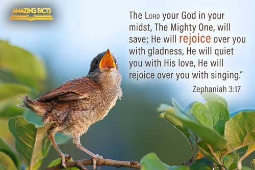 The LORD thy God in the midst of thee is mighty; he will save, he will rejoice over thee with joy; he will rest in his love, he will joy over thee with singing. 