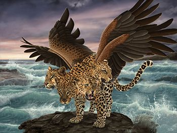 Leopard with four heads and four wings