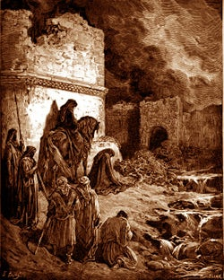 Nehemiah surveying the broken down walls of Jerusalem