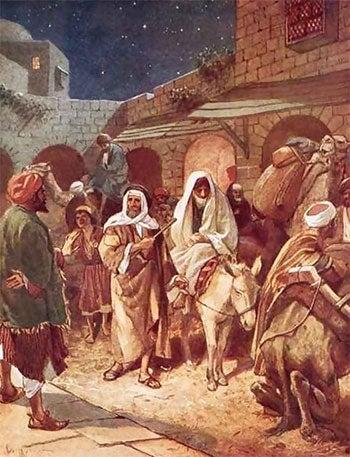 Mary and Joseph entering Bethlehem