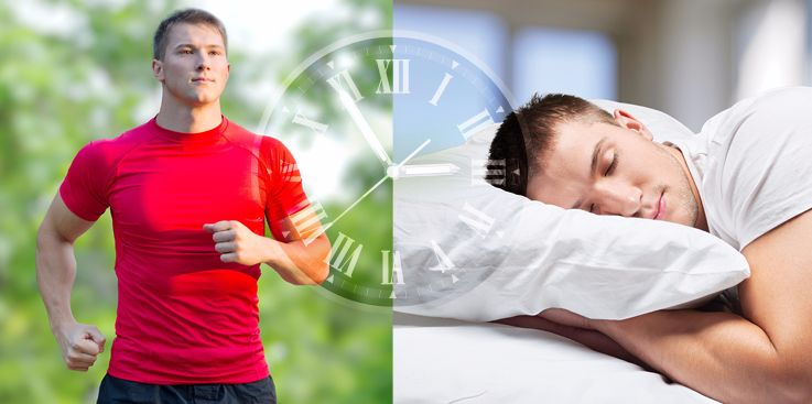 Men sleeping and exercising