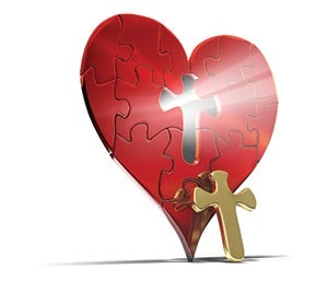 Heart with cross key