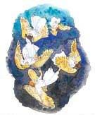 """A """"csillagok harmadrésze"""" azokat a lázadó angyalokat jelképezi, akik Luciferrel együtt kivettettek a mennyből."""