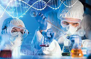 Scientist in lab working