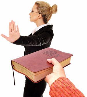 Lady refusing Bible