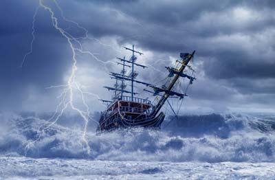 Ship in an ocean storm