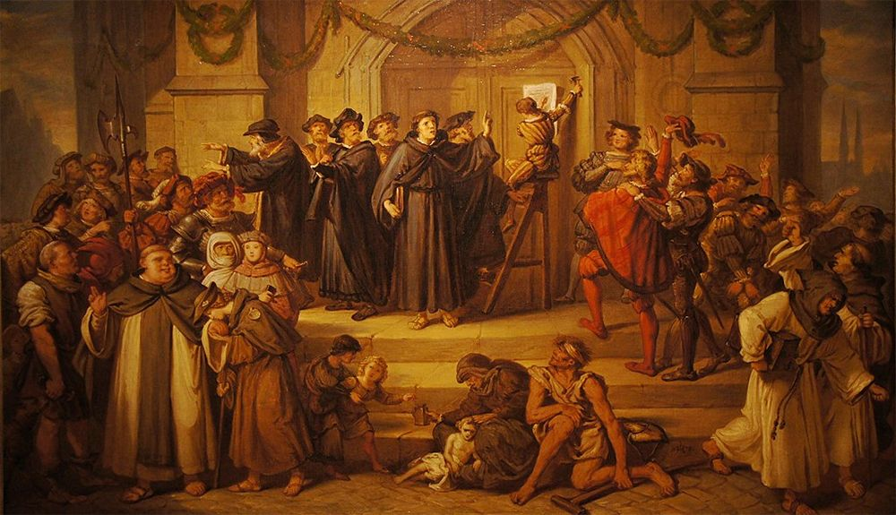 Luther nailing his 95 theses to the church door at Wittenberg