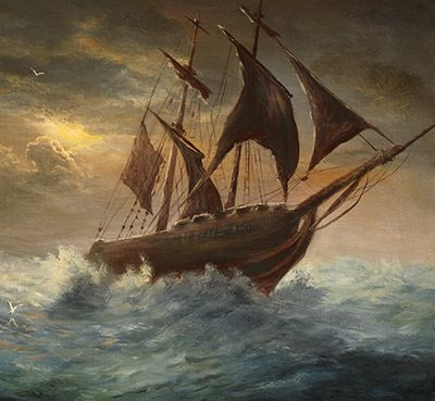 Wesley and the Moravian Christians in a storm at sea