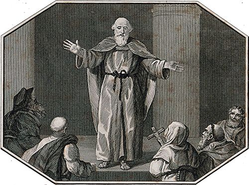 Wycliffe preaching to a crowd in Oxford